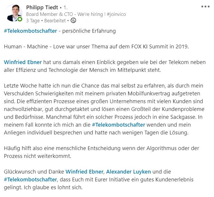 Feedback Tiedt Telekom Botschafter